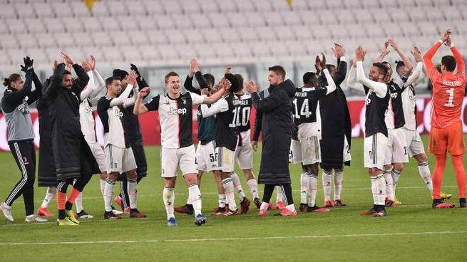 L'esultanza della Juventus in un Allianz Stadium deserto