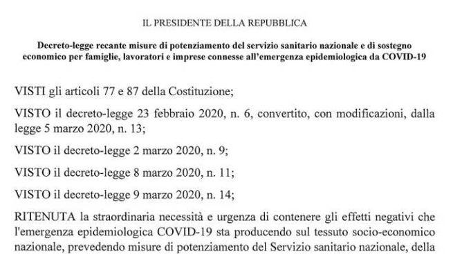 Il decreto Cura Italia