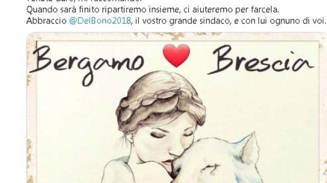 Il tweet di Gori (con il disegno di Dea e Leonessa fatto da Sara Nicoli)