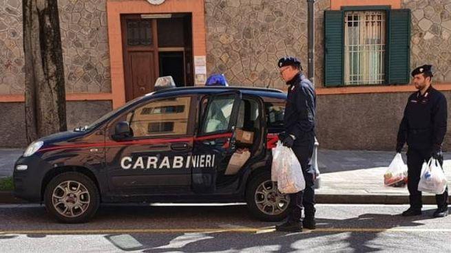 I carabinieri con la spesa (Foto Dire)
