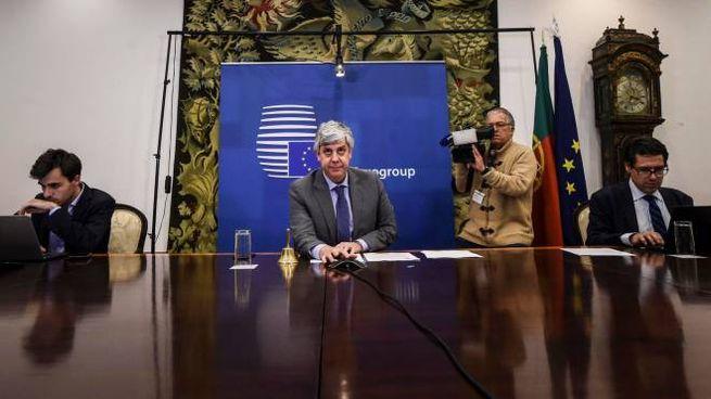 La conferenza stampa al termine dell'Eurogruppo (Ansa)