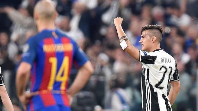 Paulo Dybala a segno con una doppietta in Juve-Barcellona 3-0