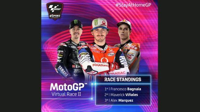 Francesco Bagnaia primo nella seconda Virtual Race MotoGp