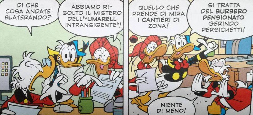 Una delle vignette nel 'Topolino' uscito la scorsa settimana e. Danilo 'Maso' Masotti