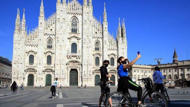 Piazza Duomo a Milano a inizio Fase 2