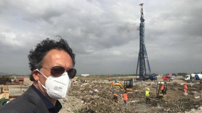 I lavori per la costruzione del centro Amazon