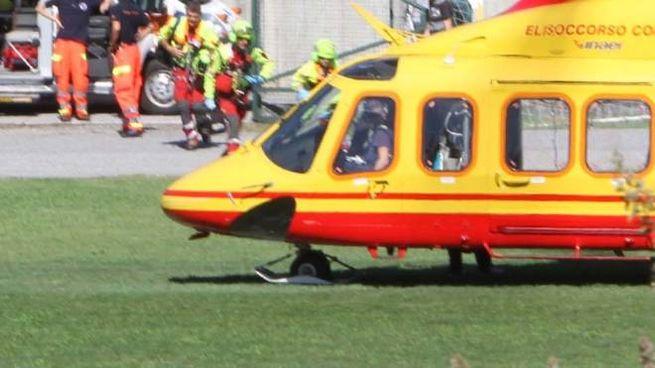 L'elisoccorso ha trasportato la piccola, con un'emorragia cerebrale, a Bergamo