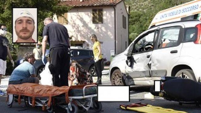 La scena dell'incidente e, nel riquadro, la vittima