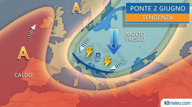 Previsioni meteo, la tendenza per il 2 giugno (3bmeteo)