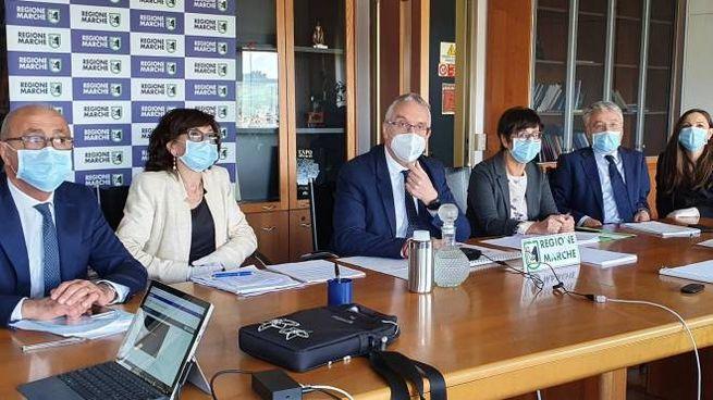 Ceriscioli durante la videoconferenza stampa della Regione (foto Dire)