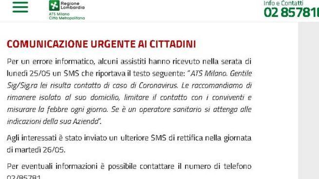 Il messaggio pubblicato da Ats Milano sul sito per comunicare l'errore