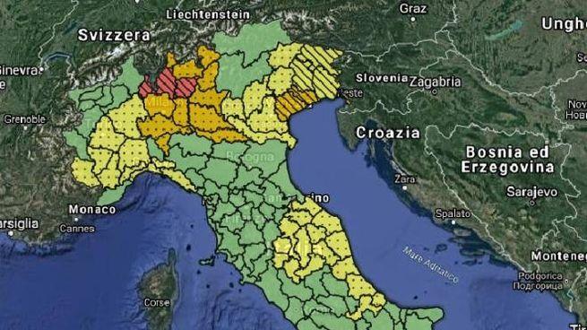 Allerta meteo rossa in Lombardia, la mappa della Protezione civile