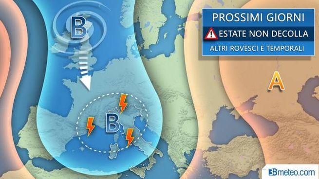 Le previsioni del tempo per i prossimi giorni, grafico 3bmeteo