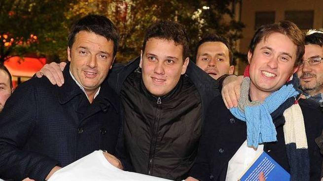 Matteo Renzi con Caneschi (a sinistra) e (a destra) Matteo Bracciali