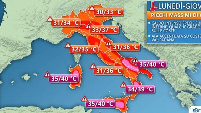 La mappa del caldo in Italia realizzata da 3B Meteo