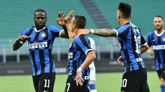 Inter, l'esultanza di Alexis Sanchez per il gol del 2-0 (foto alive)