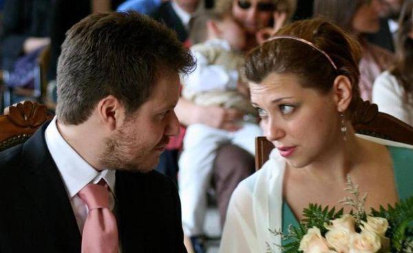 Mauro Pamiro ritratto con la moglie Debora Stella il giorno del matrimonio