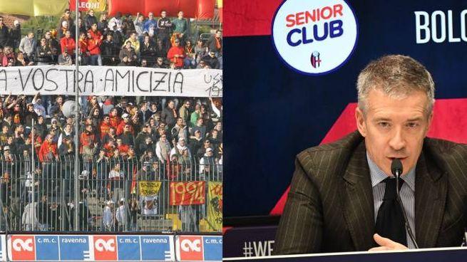 Il gemellaggio tra i tifosi del Ravenna e del Bologna; a destra l'ad rossoblù Fenucci
