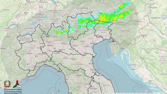Il radar meteo della Protezione civile nella prima serata del 6 luglio