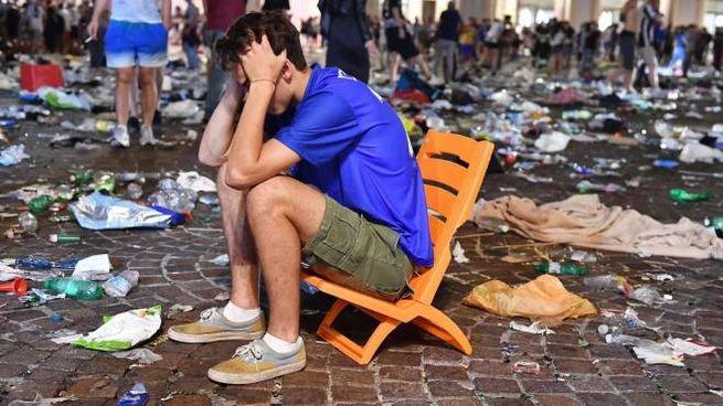 Un'immagine dei disordini seguiti alla finale di Champions nel 2017 a Torino