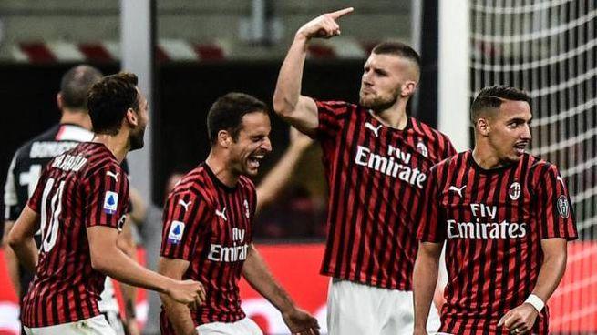 Milan-Juventus, la gioia di Rebic e compagni dopo il 4-2 (Ansa)