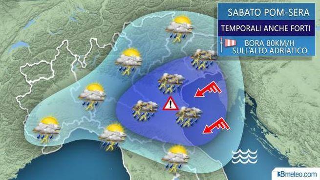 Previsioni del tempo, i temporali da sabato pomeriggio (3bmeteo)