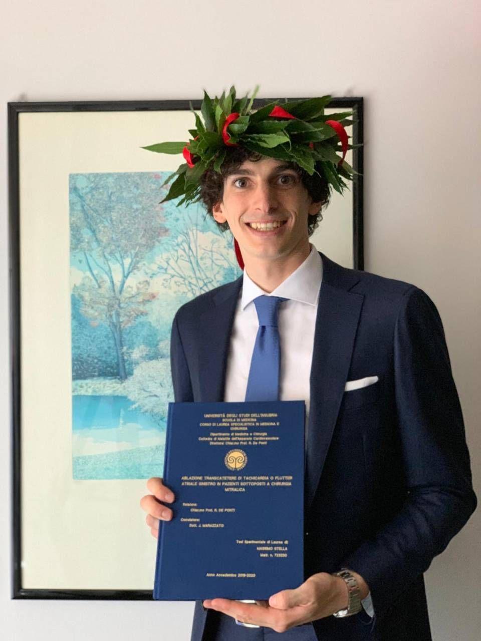 Il neo dottore Massimo Stella, 25 anni