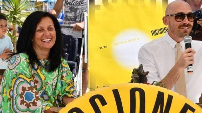 Il sindaco di Riccione, Renata Tosi e Simone Bruscia, coordinatore degli eventi del Comune