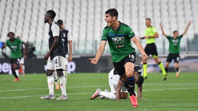 Juventus-Atalanta 2-2, l'esultanza di Malinovskyi (Ansa)