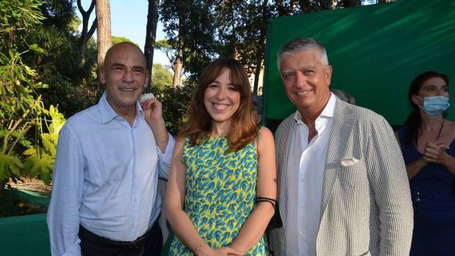 Agnese Pini con Massimo Mallegni e Bruno Guerri
