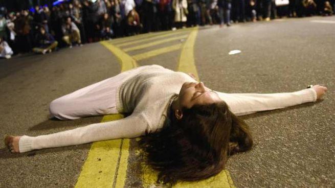 Una protesta contro il femminicidio