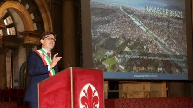 Il sindaco Dario Nardella durante la presentazione di 'Rinasce Firenze'