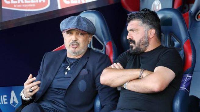 Sinisa Mihajlovic  e Gennaro Gattuso prima di Napoli-Bologna (Ansa)