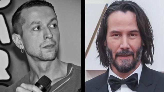 Il disegnatore Alessandro Vitti e l'attore Keanu Reeves