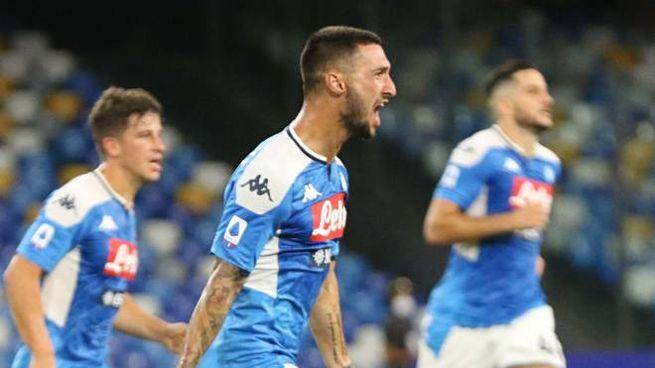 Napoli-Udinese, l'esultanza di Politano (Ansa)