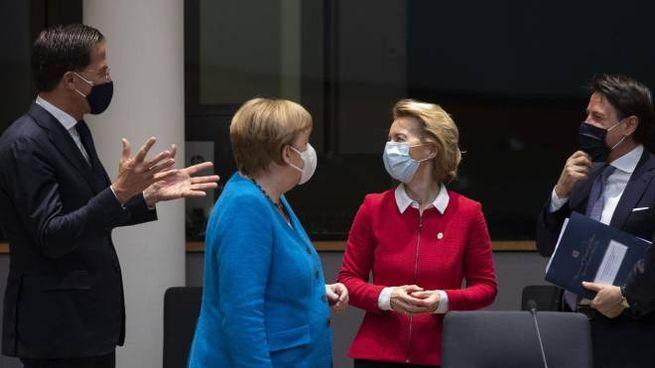 Rutte, Merkel, von der Leyen e Conte (Ansa)