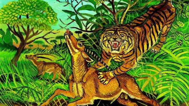 Tigre con gazzella, olio su tela, tra le opere di Antonio Ligabue in mostra ai Diamanti