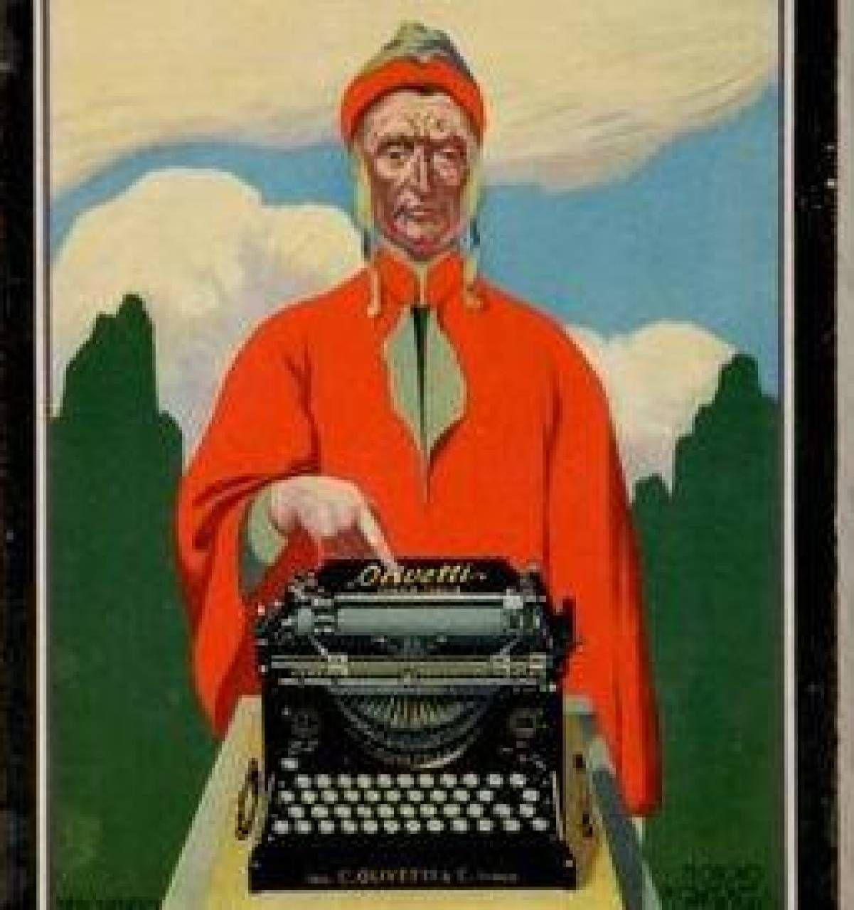 Locandina Olivetti di Teodoro Wolf Ferrari, una delle opere che saranno esposte al Mar di Ravenna. . Sopra, il prospetto della Tomba di Dante dell'architetto Camillo Morigia