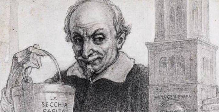 . Alessandro Tassoni (1565-1635). , autore. della Secchia rapita in un disegno di Augusto Majani di inizio Novecento
