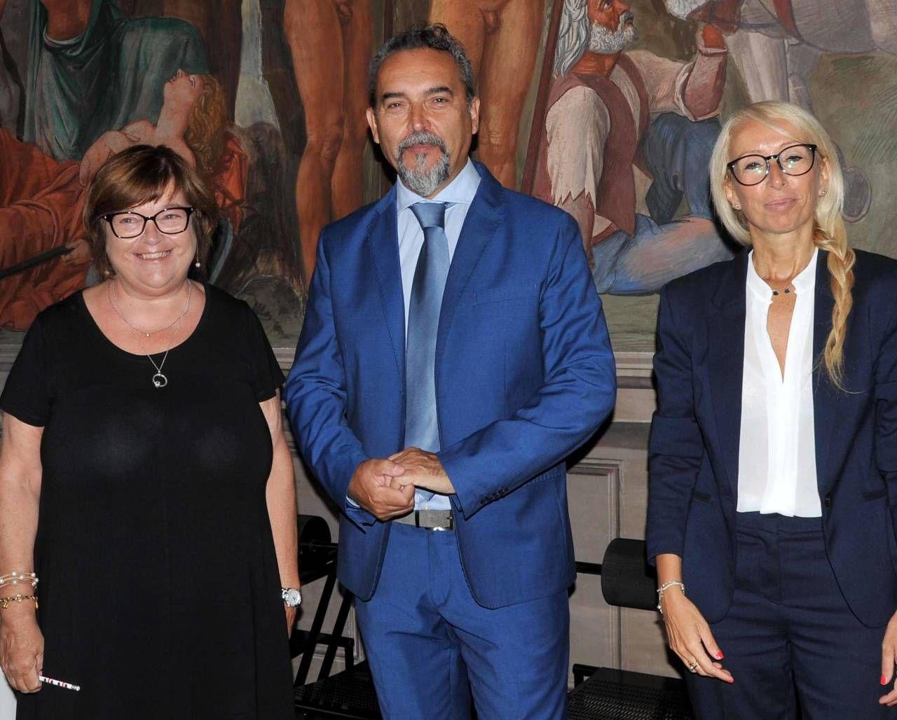 Il CdA di Ferrara Fiere. Da sinistra Donatella Zuffoli, Andrea Moretti (presidente) e Silvia Paparella