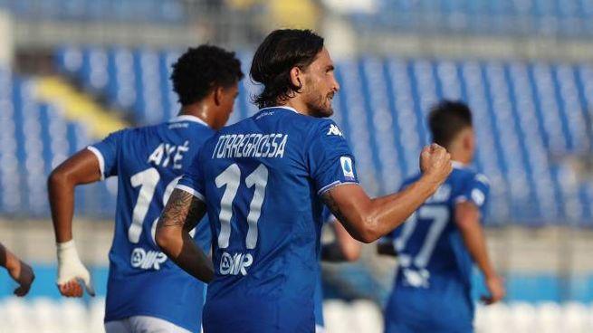 L'esultanza di Torregrossa dopo il gol del pareggio del Brescia (Ansa)
