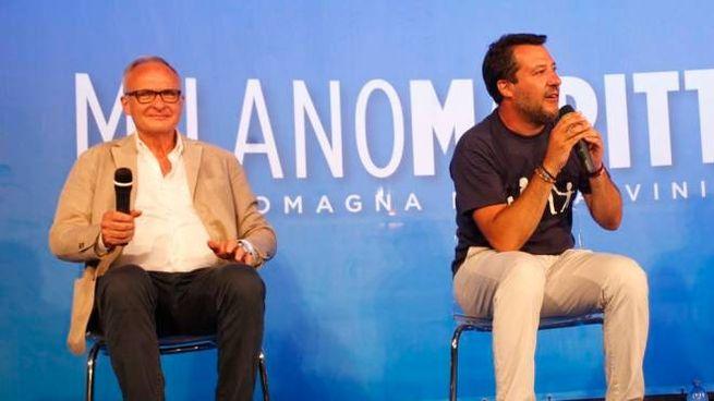 Il direttore di Qn-il Resto del Carlino, Michele Brambilla, con Matteo Salvini