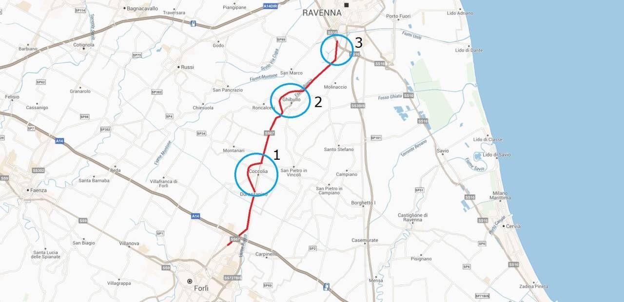 Ecco come potrebbe essere un'ipotetica cartina della quarta ipotesi che coinvolge la nuova via Ravegnana