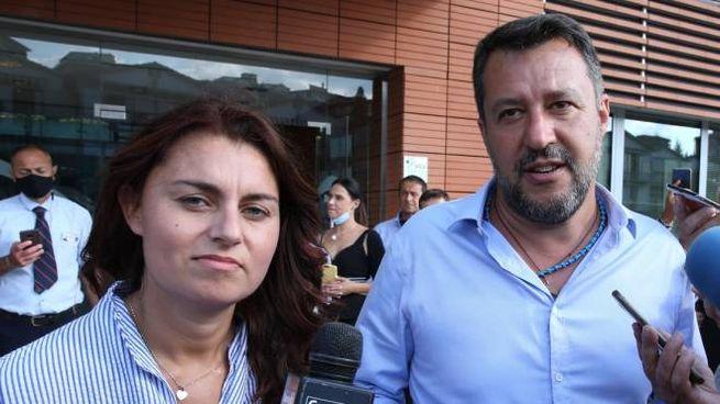 Susanna Ceccardi e Matteo Salvini a Siena  (foto Di Pietro)