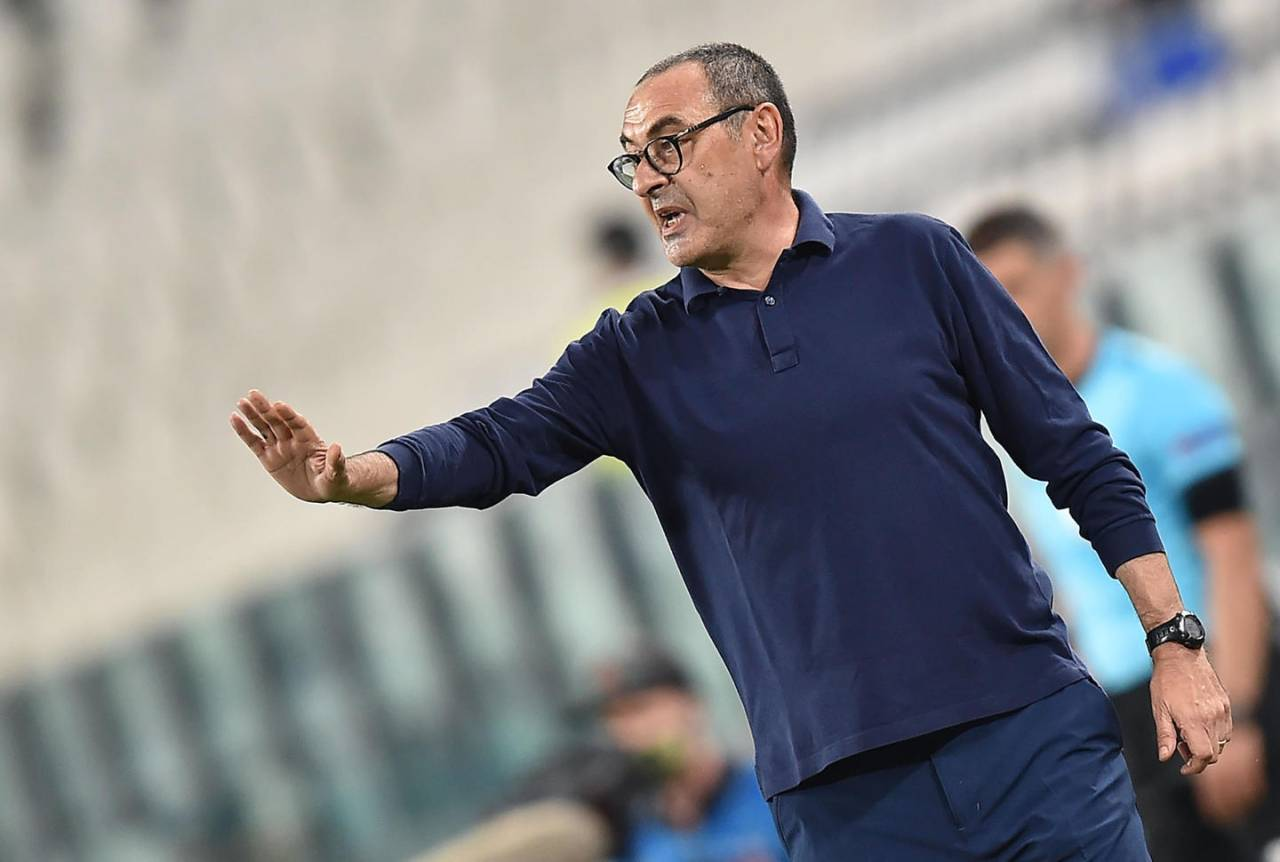 Juventus coach Maurizio Sarri gestures during the UEFA Champions League round of 16 second leg soccer match Juventus FC vs Olympique Lyon at the Allianz Stadium in Turin, Italy, 07 August 2020.ANSA/ALESSANDRO DI MARCO