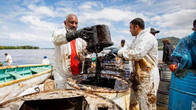 Mauritius, volontari al lavoro per pulire le acque e arginare la 'marea nera' (Ansa)