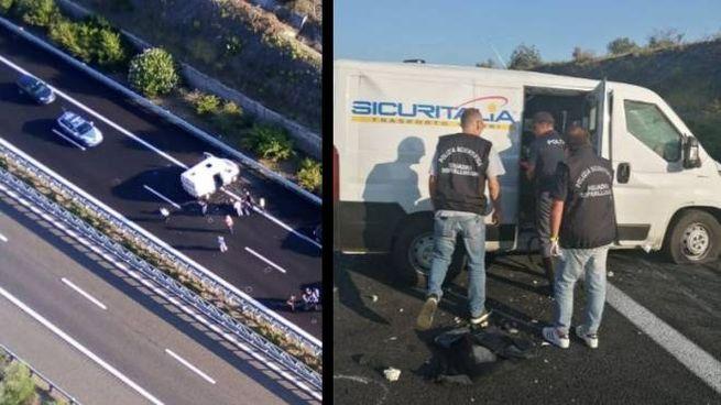 Assalto a portavalori sull'A14 vicino Cerignola (Foto Polizia di Stato)