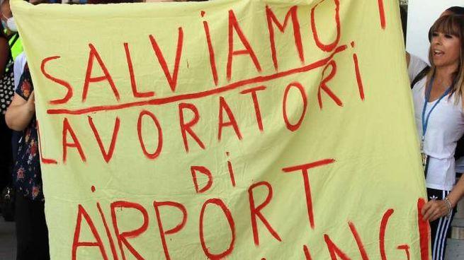 Protesta all'aeroporto di Linate