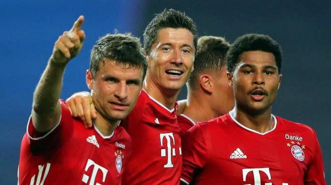 Lione-Bayern, da sinistra Muller, Levandowski e Gnabry (Ansa)