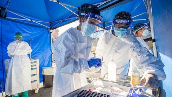 Coronavirus, operatori sanitari al lavoro per i tamponi (Ansa)